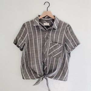 Universal Thread Striped Tie Front Button Up Grey